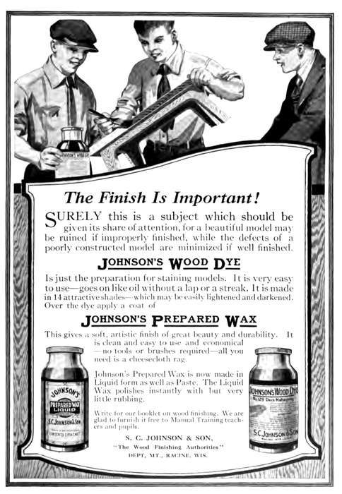 old ad for Johnson's finishing products