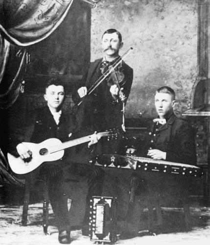 Hammered dulcimer player Curtis O. Render and band in Midland, Michigan circa 1899