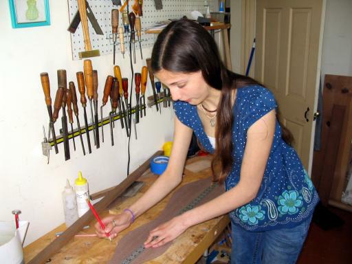 Anna laying out dulcimer back braces