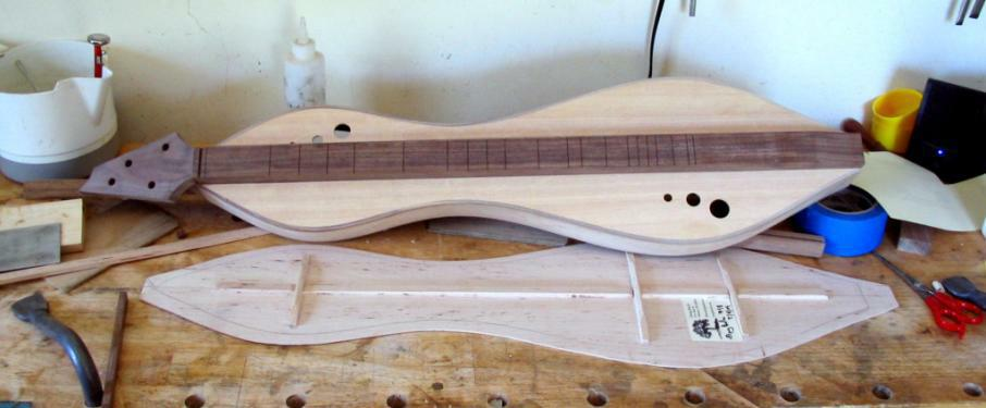 Figured maple dulcimer and back