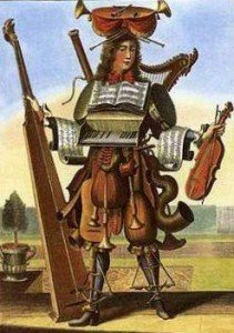 A musician with too many instruments to carry comfortably