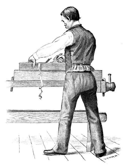 Artist's rendition of Doug planing at the bench - Doug is known for being a spiffy dresser