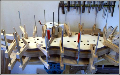 Gluing on a soundboard