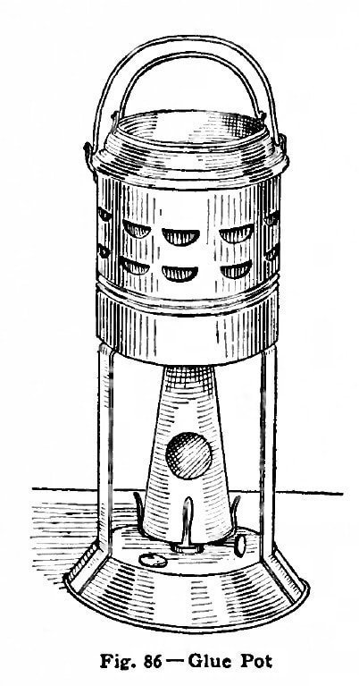 An old-style heated glue pot