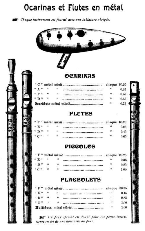 Ocarinas et Flutes en métal