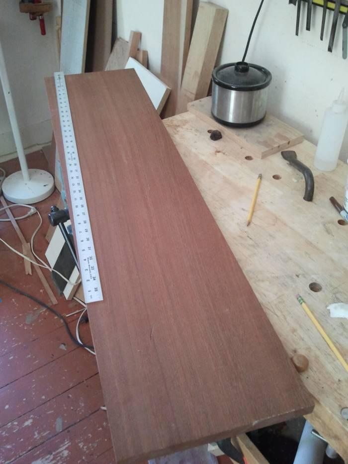 Honduras mahogany stock that will soon become dulcimer fretboard blanks.