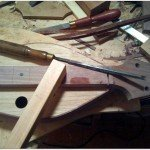 A dulcimer a paring chisel binding a file and a tidy workbench 150x150 Still Life In A Dulcimer Makers Shop #5