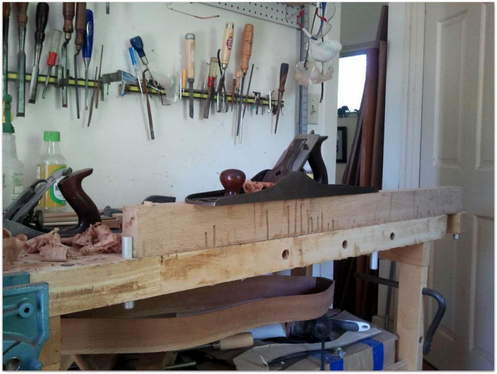 Dulcimer builder creates a long, thin planing support. What will he think of next?