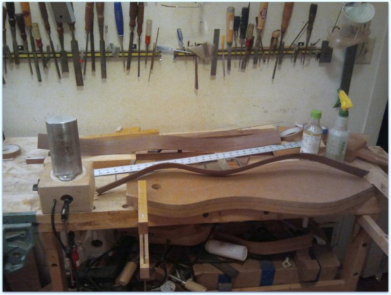 Bending dulcimer sides with a bending iron