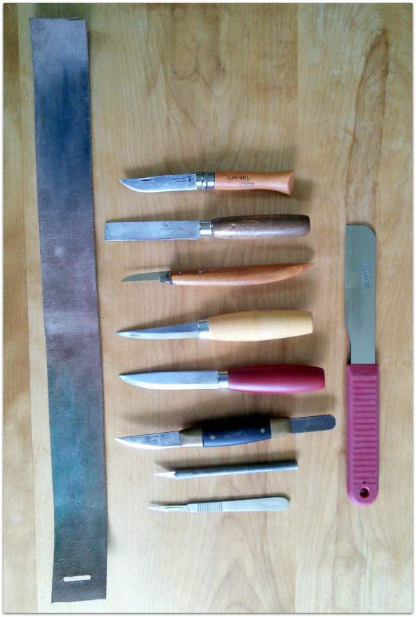 Lutherie knives and a strop