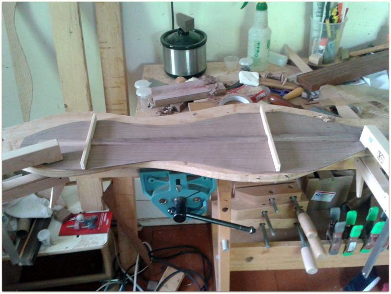 Dulcimer back braces fitted and ready for gluing.