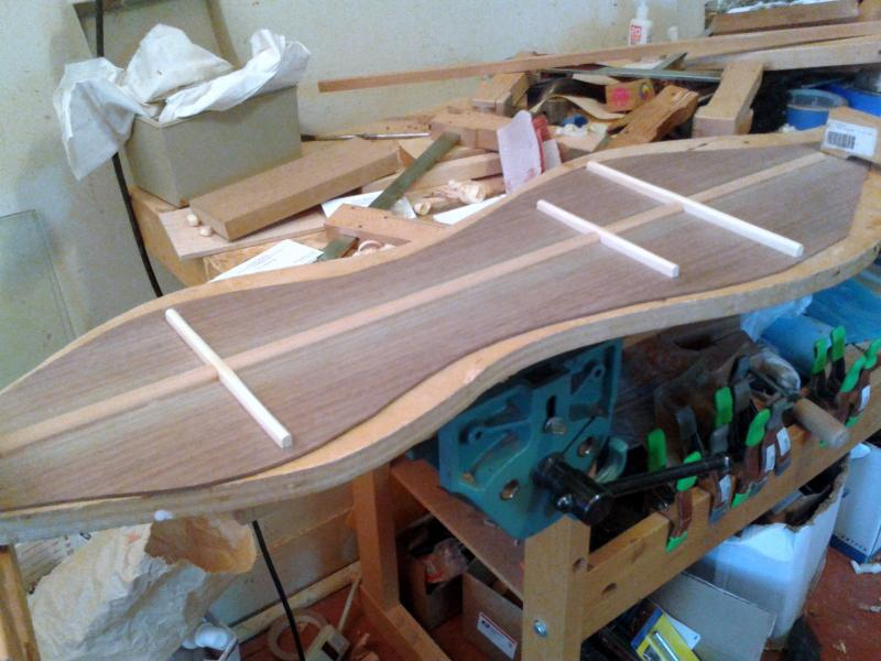 Walnut dulcimer back with Spanish Cedar and spruce bracing
