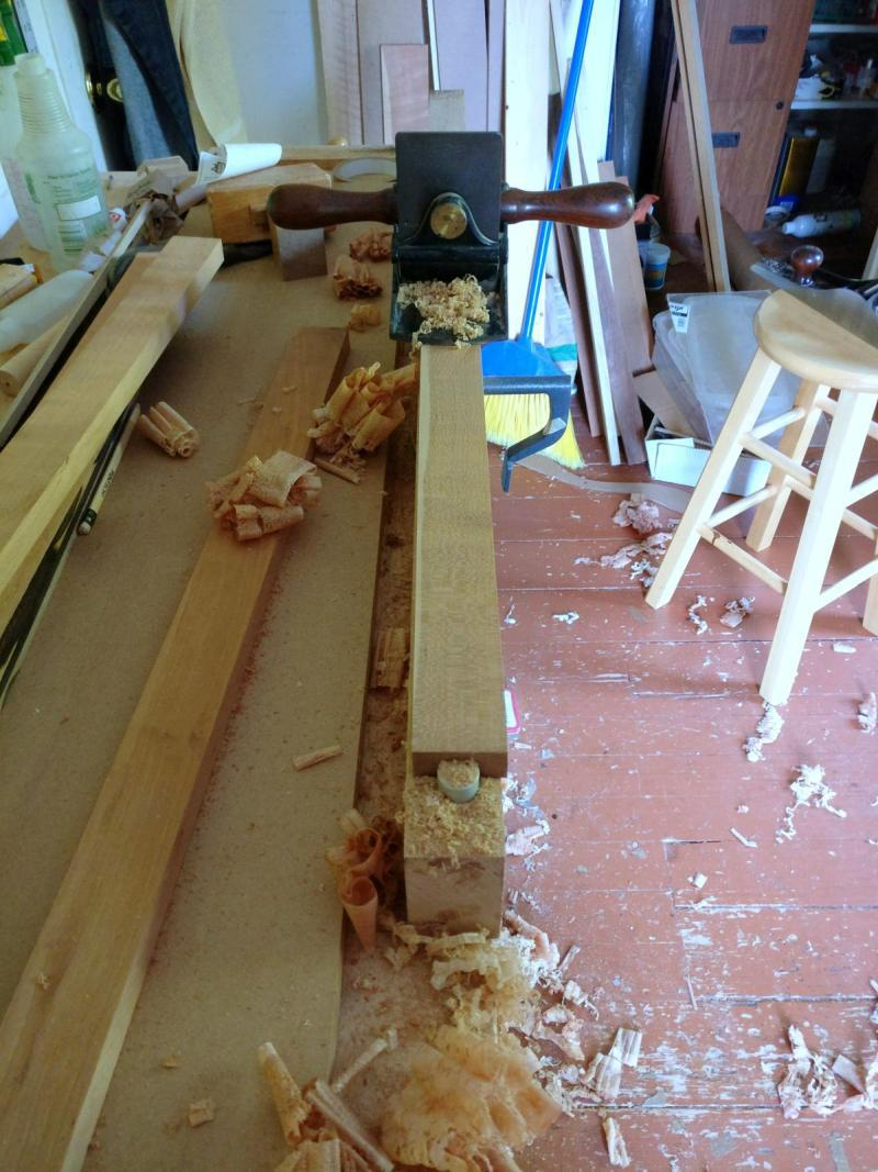 Cherry dulcimer fretboard surrendering to the will of sharpened carbon steel