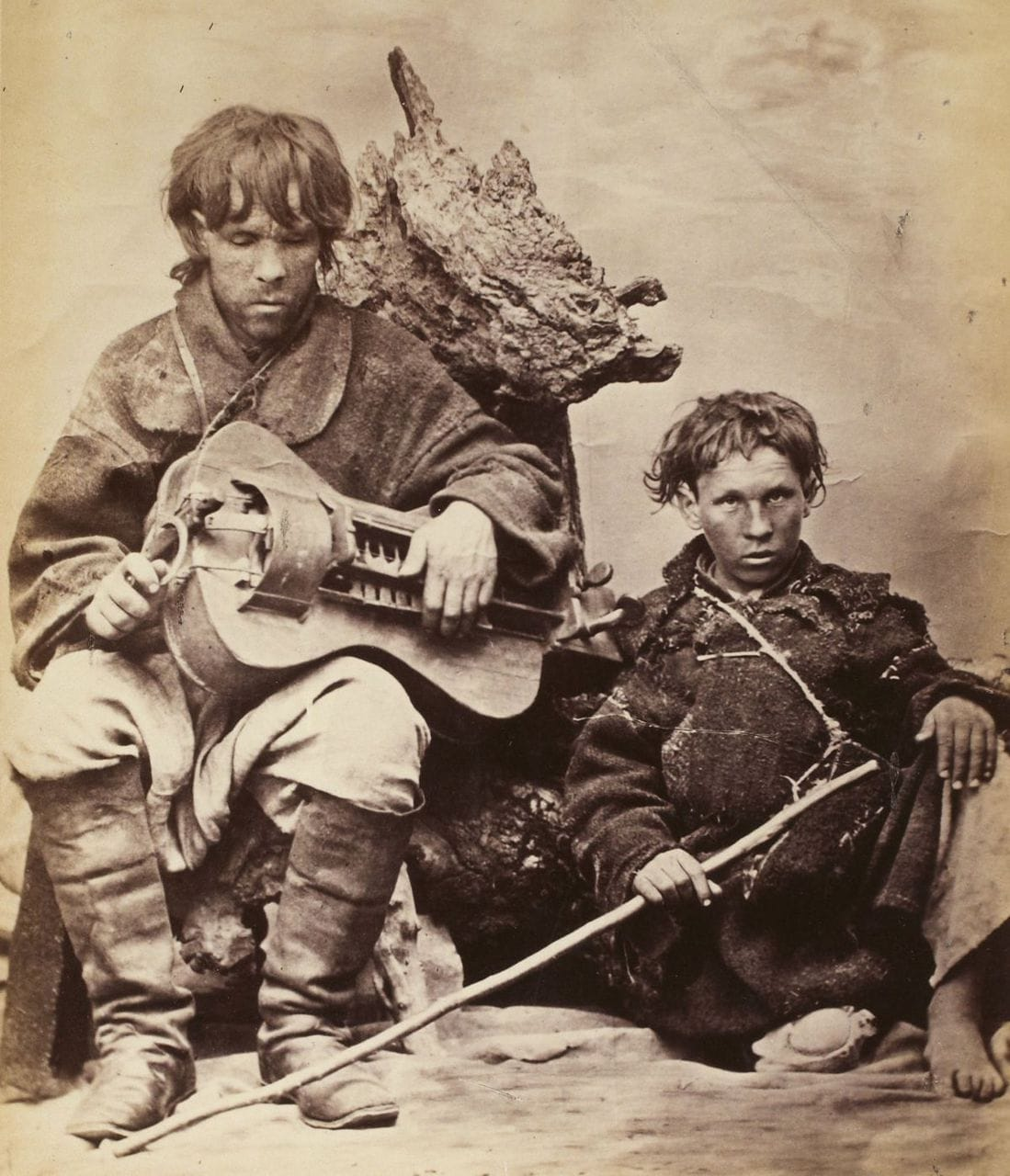 Blind Ukrainian lyra (hurdy gurdy) player