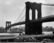 feininger a vintage Mitsui+Line+ship+passing+under+Brooklyn+Bridge+on+the+East+River New+York 1954 M