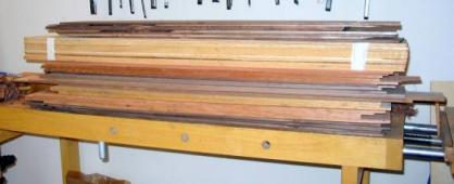 resawn wood on bench