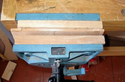 brace arching jig in vise